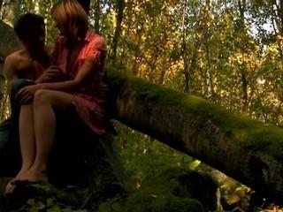 Adorable, yet lewd amateur skinny hottie begins sex on the log